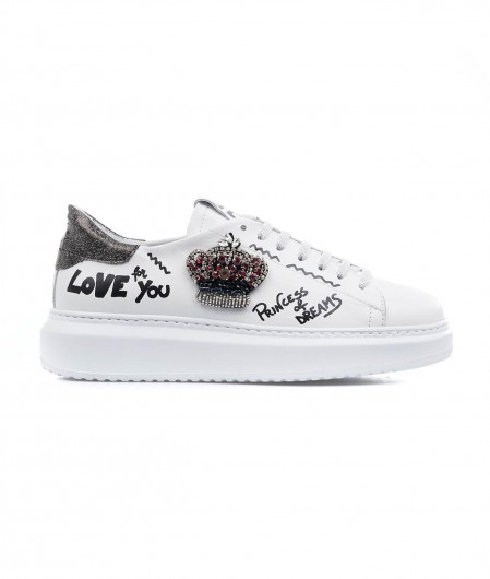Gio+ Sneaker with application white