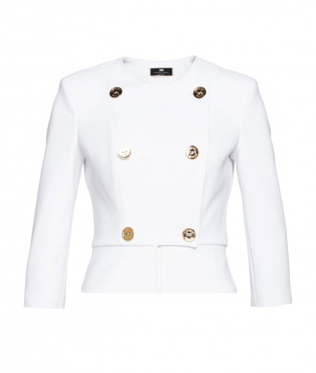 Elisabetta Franchi Double-breasted jacket in crêpe white