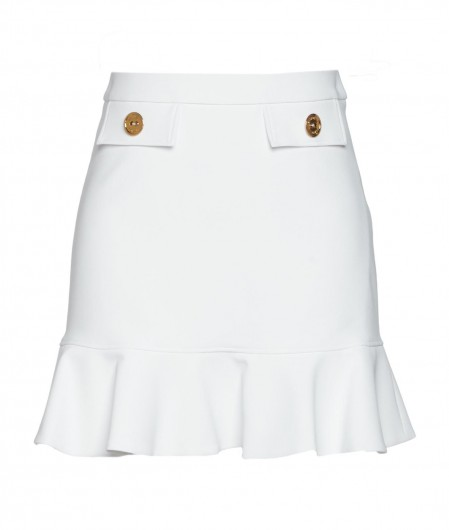 Elisabetta Franchi Flounced skirt in crêpe white