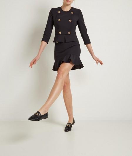 Elisabetta Franchi Double-breasted jacket in crêpe black