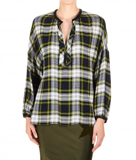 """8PM Checked blouse in flannel """"Starsky"""" navy"""