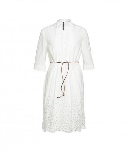 Manila Grace Kleid mit Stickerei Weiß