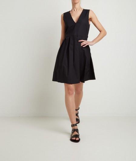 Manila Grace Kleid mit V-Ausschnitt Schwarz