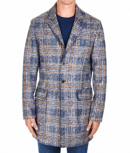 """BOB Checked wool blend coat """"Lord"""" blue"""