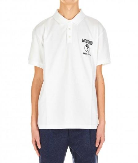 Moschino Polo T-shirt with logo print white