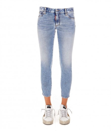 Dsquared2 Medium Waist Cropped Twiggy Jean light blue