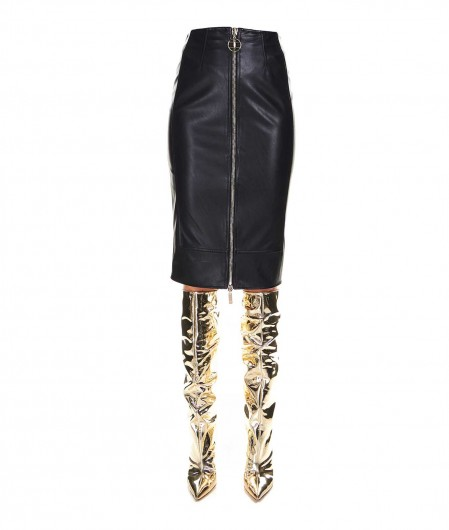 Elisabetta Franchi Pencil skirt in faux leather black