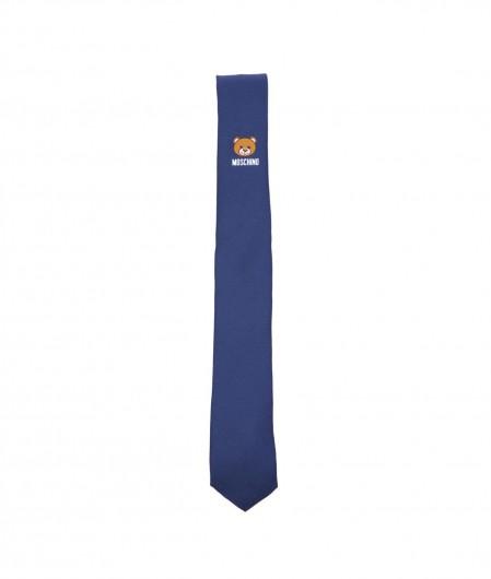 Moschino Tie with logo print blue