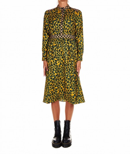 Maison Scotch Shirt dress with animal print yellow
