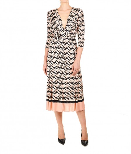 Elisabetta Franchi Midi dress in jersey with logo print rose