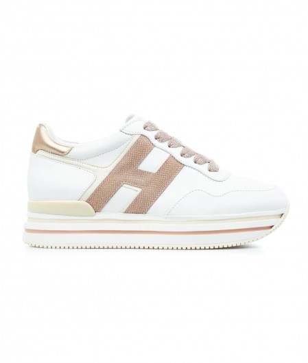 Hogan Plattform Sneakers mit Glitzerlogo Weiß