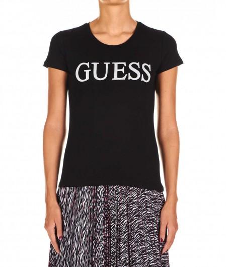 Guess T-shirt with glitter logo black
