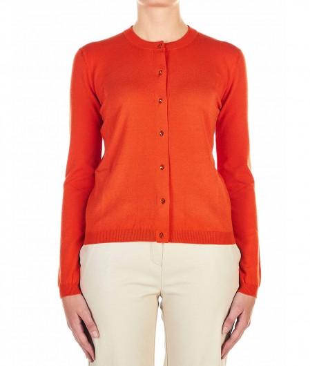 Twin Set Cardigan mit Strass-Knopfverschluss Orange