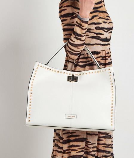 La Carrie Shopper mit Nieten Weiß