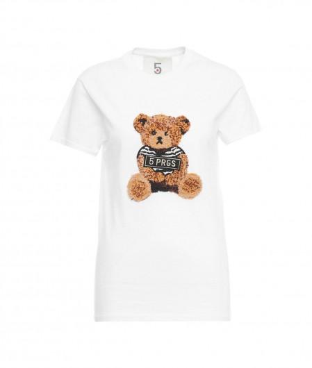 """5 Progress T-Shirt """"Bear Tie"""" Weiß"""
