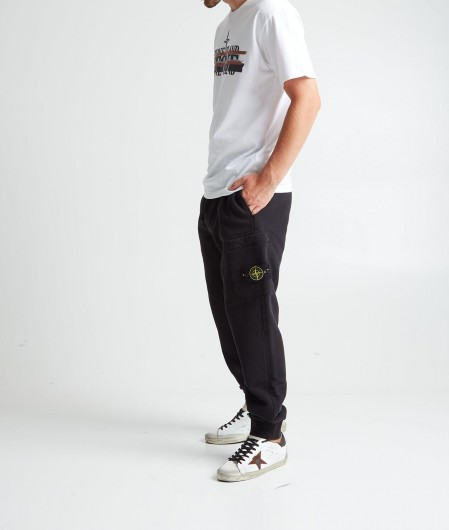 Stone Island Joggers with logo patch black