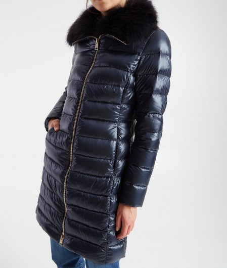 Herno Light down coat with fur insert navy