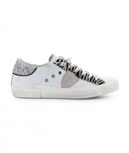 "Philippe Model Sneaker ""PRSX LOW W GLITTER ANIMALIER"" Weiß"