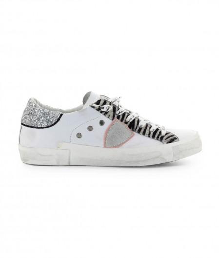 """Philippe Model Sneaker """"PRSX LOW W GLITTER ANIMALIER"""" white"""
