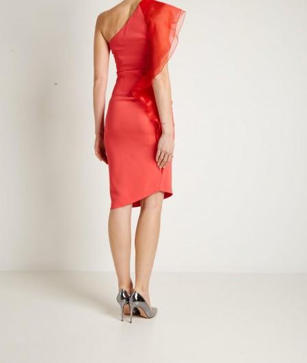 Elisabetta Franchi One-shoulder dress with flounces pink