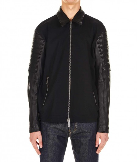 Dsquared2 Jacket in leather and textile black
