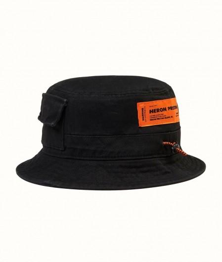 Heron Preston Cotton Twill Bucket Hat Schwarz