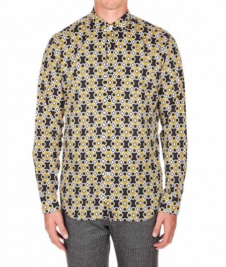 "Robert Friedman Shirt ""Mattia"" with geometric print mustard"