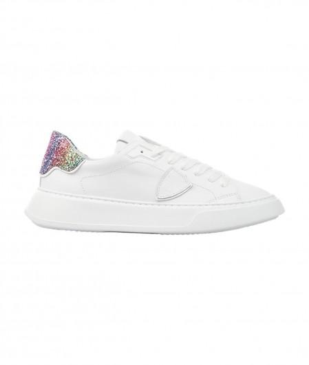 """Philippe Model Sneaker """"TEMPLE LOW VEAU GLITTER BLANC"""" Weiß"""