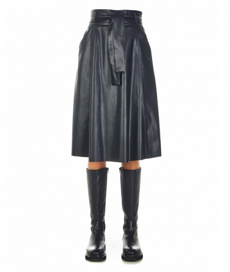 Gender Midi Rock Eco-Leder Schwarz
