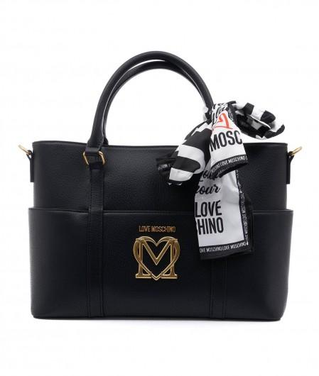 Love Moschino Handtasche mit Logopatch Schwarz