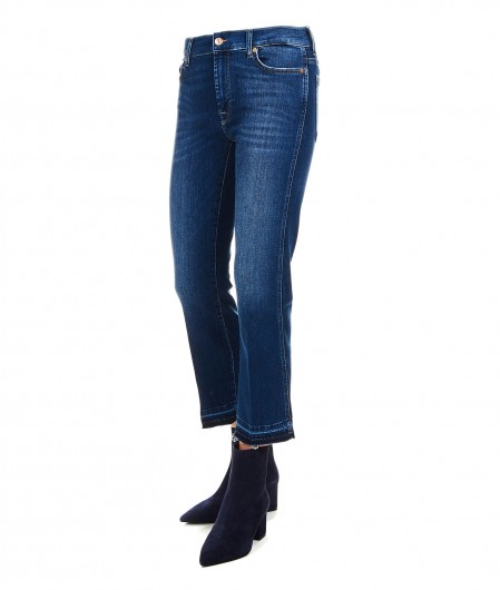 7 for all mankind Cropped Boot Unrolled Jeans navy
