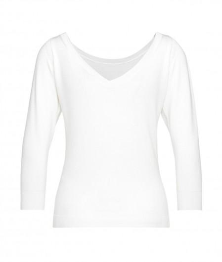 Liu Jo Sweater with v-back collar white