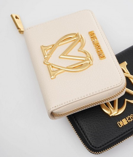 Love Moschino Wallet with logo application beige