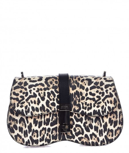 Guess Shoulder bag with animal print creme
