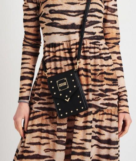Versace Jeans Couture Umhängetasche mit Nieten und Logo-Plakette Schwarz