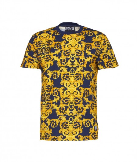 Versace Jeans Couture Jersey T-Shirt con stampa baroque navy