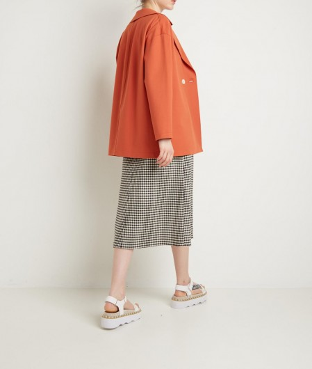 RED Valentino  Vichy pattern flared skirt black