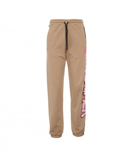 Disclaimer Joggers with logo print beige
