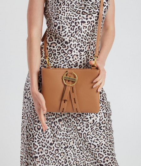Love Moschino Crossbody bag with buckle light brown