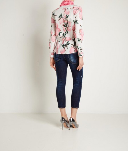5 Progress Floral shirt with appliqués on the collar pink