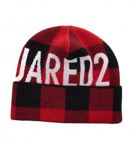Dsquared2 Strickmütze mit Logo Rot