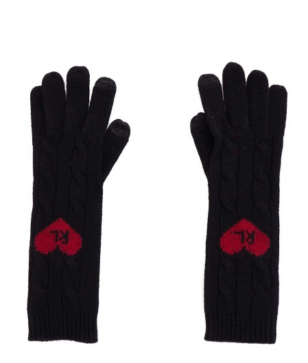 Polo Ralph Lauren Gloves with heart embroidery black