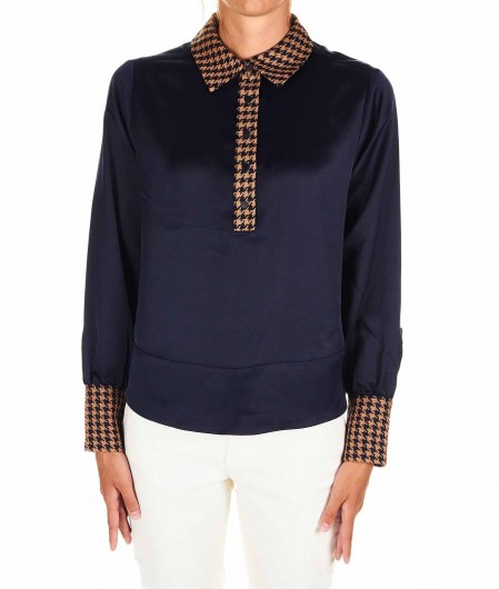 Maison Scotch Blouse with contrasting detail navy
