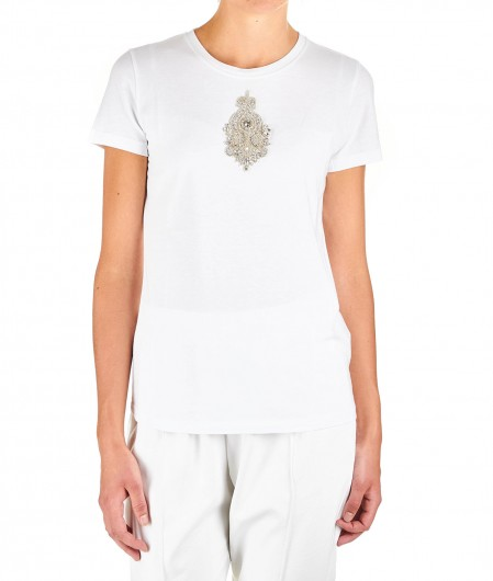 Dondup T-shirt with strass application white