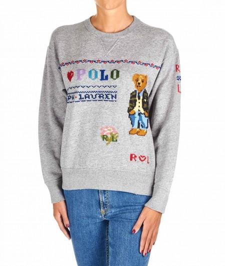 Polo Ralph Lauren Besticktes Sweatshirt Hellgrau