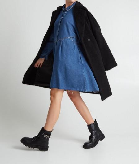 Twin Set Denim dress with stud detailing blue