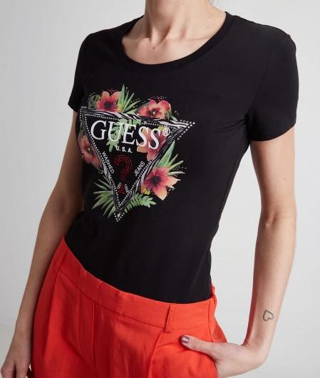 Guess T-Shirt mit Logodruck Schwarz