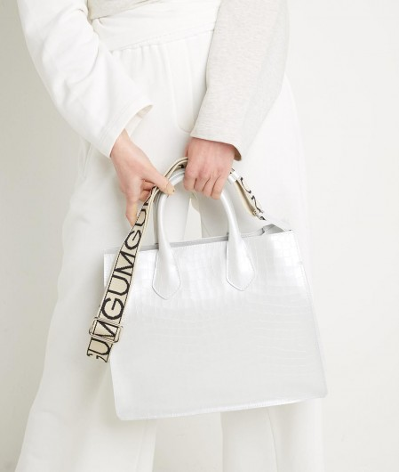 Gum  Handbag with reptile pattern white