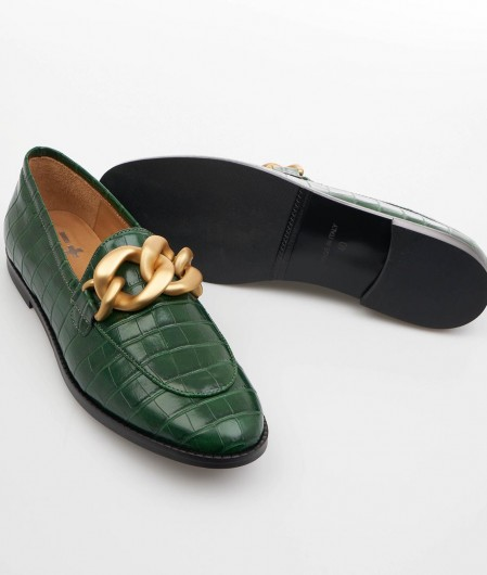 Gio+ Loafer in croco look green