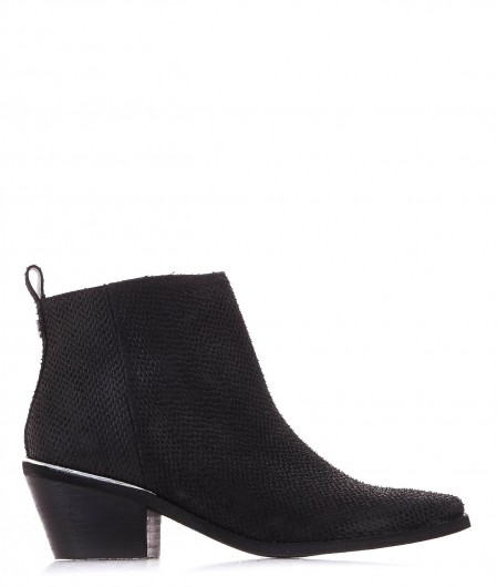 Guess Cowboy boots in pelle effetto rettile nero